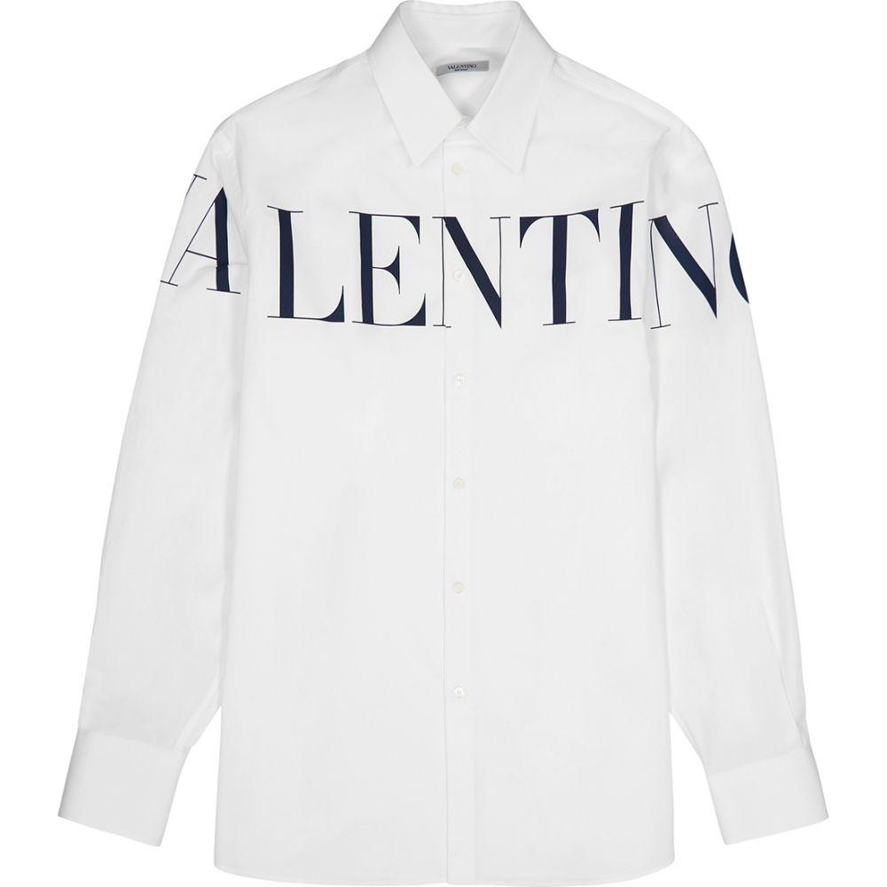 ヴァレンティノ Valentino メンズ シャツ トップス【White Logo-Print Cotton Shirt】White