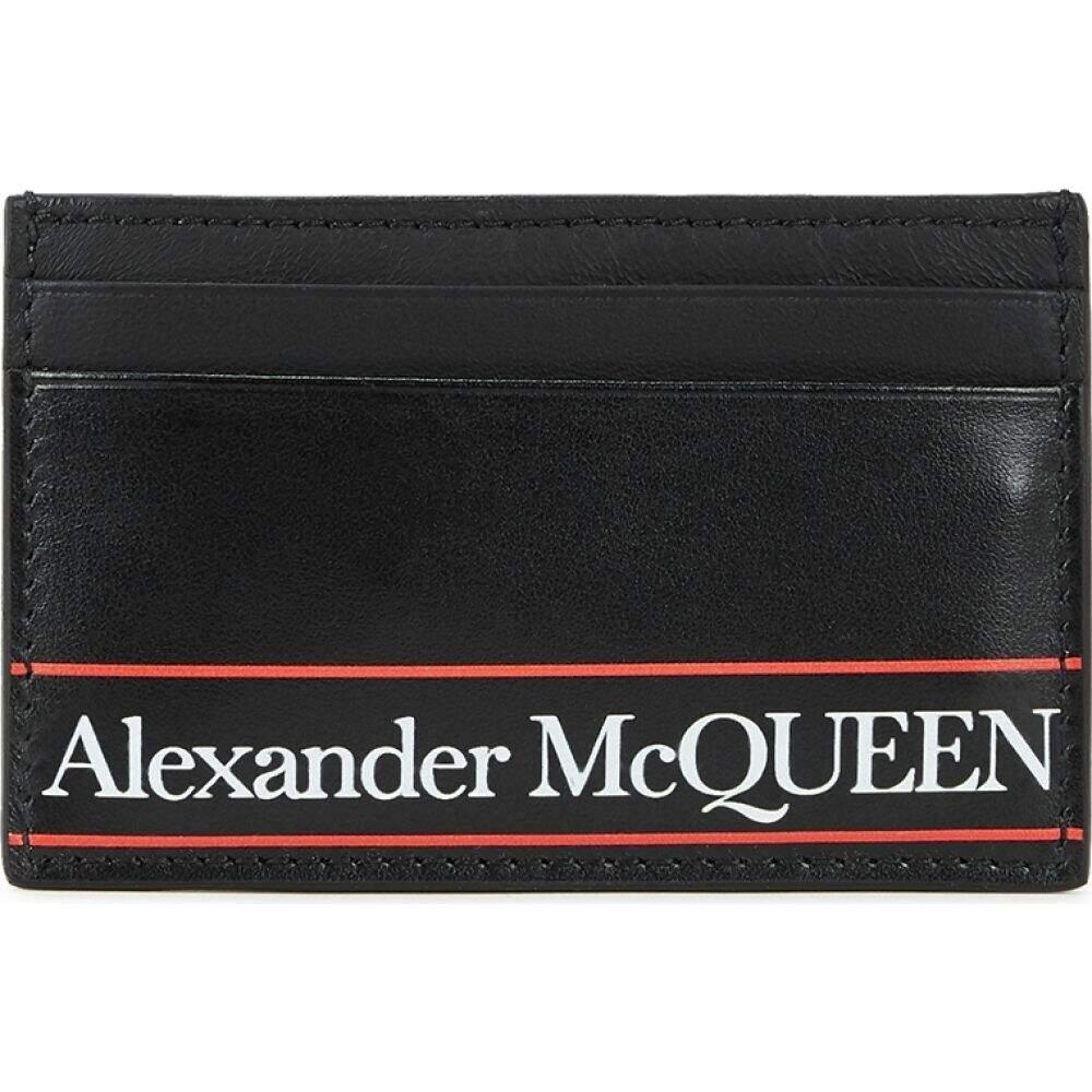 アレキサンダー マックイーン Alexander McQueen メンズ カードケース・名刺入れ カードホルダー【Black Logo-Print Leather Card Holder】Black
