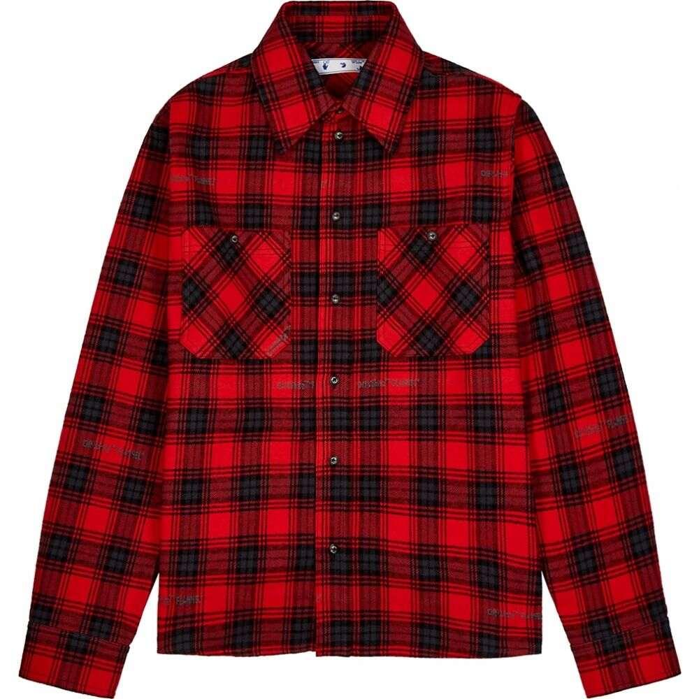 オフホワイト Off-White メンズ シャツ フランネルシャツ トップス【Stencil Checked Flannel Shirt】Red