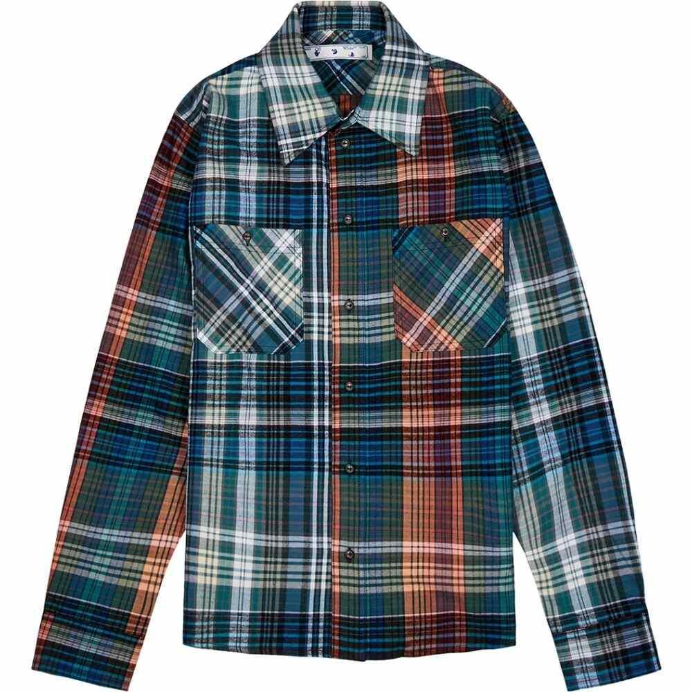 オフホワイト Off-White メンズ シャツ フランネルシャツ トップス【Stencil Checked Flannel Shirt】Blue