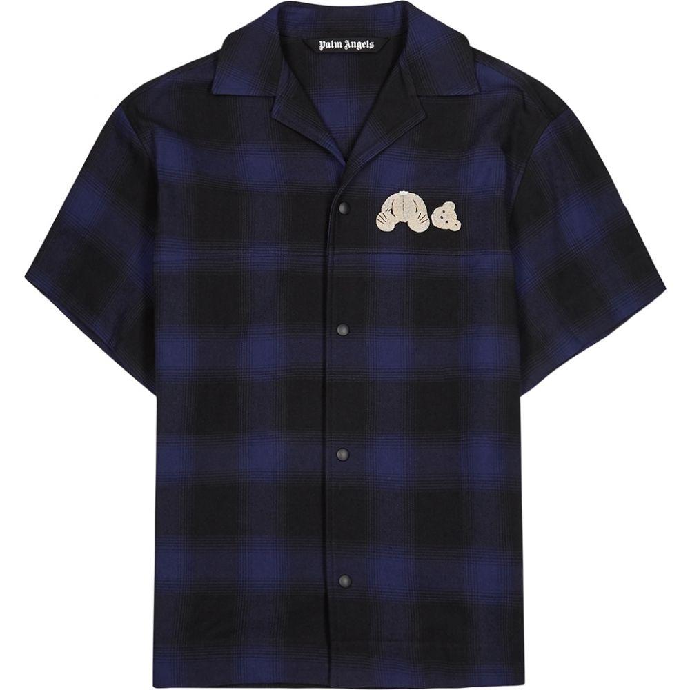 パーム エンジェルス Palm Angels メンズ シャツ トップス【Dark Blue Plaid Cotton-Blend Shirt】Blue