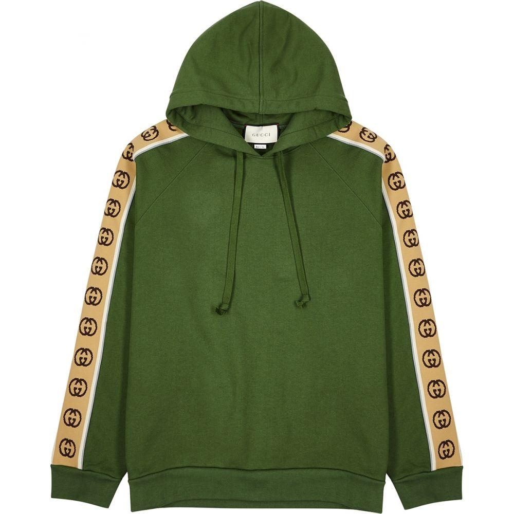 グッチ Gucci メンズ スウェット・トレーナー トップス【Green Gg-Striped Cotton Sweatshirt】Green