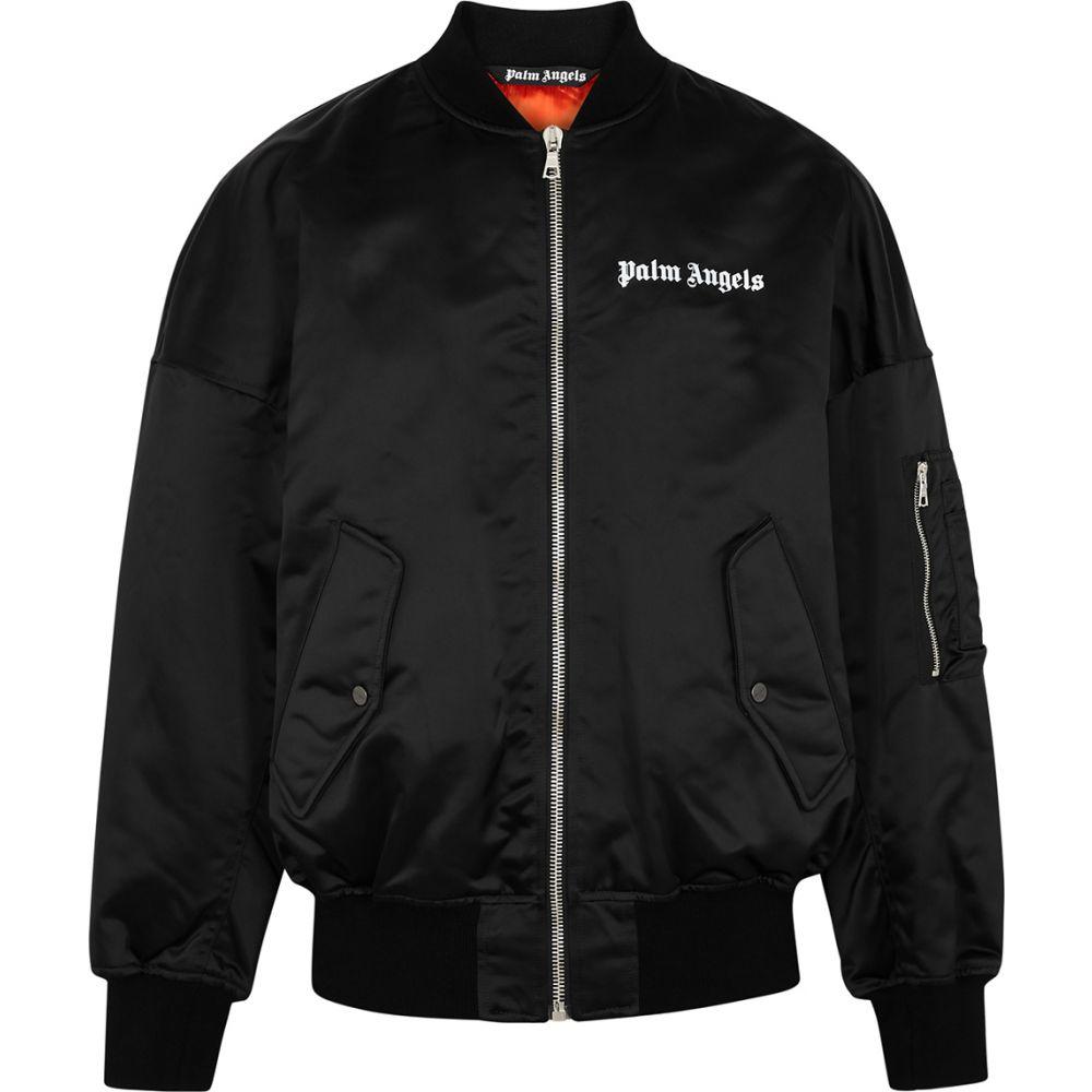 パーム エンジェルス Palm Angels メンズ ブルゾン ミリタリージャケット アウター【Black Logo Nylon Bomber Jacket】Black