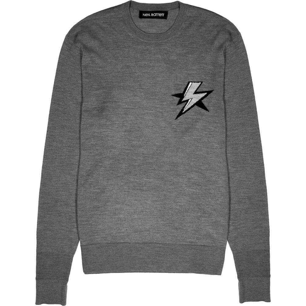 ニール バレット Neil Barrett メンズ ニット・セーター トップス【Grey Lightning-Intarsia Wool-Blend Jumper】Grey