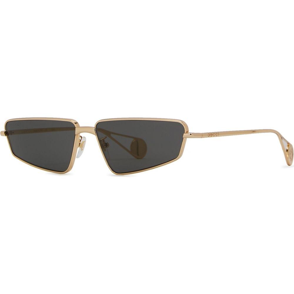 グッチ Gucci レディース メガネ・サングラス 【Gold-Tone Rectangle-Frame Sunglasses】Grey