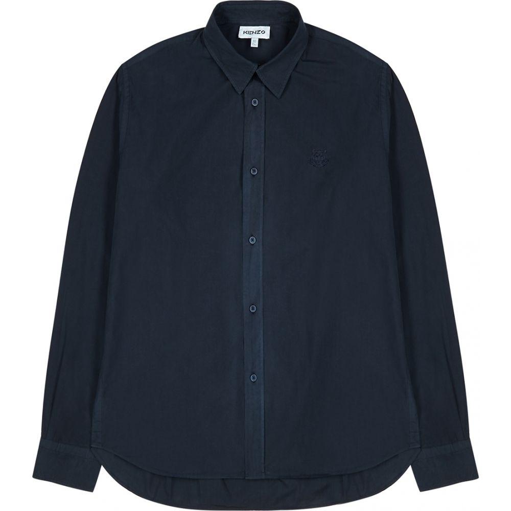 ケンゾー Kenzo メンズ シャツ トップス【Navy Tiger-Embroidered Cotton Shirt】Navy