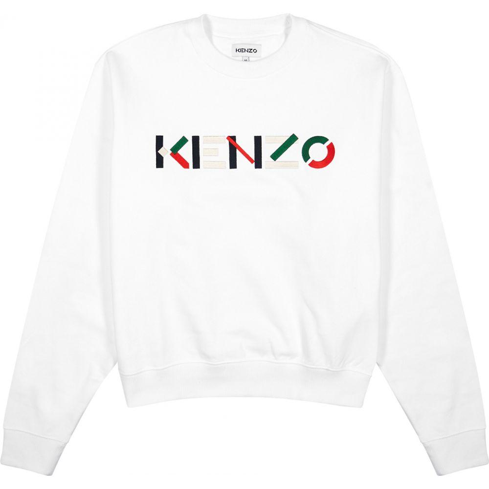 ケンゾー Kenzo メンズ スウェット・トレーナー トップス【White Logo Cotton-Jersey Sweatshirt】White