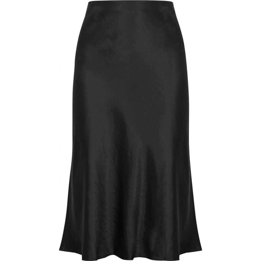 ヴィンス Vince レディース ひざ丈スカート スカート【Black High-Waisted Satin Skirt】Black