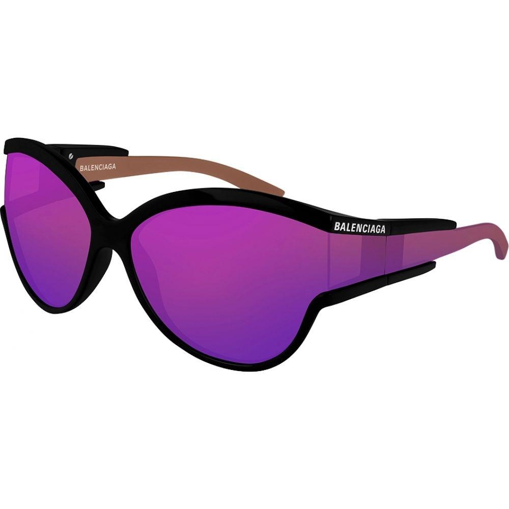 バレンシアガ Balenciaga レディース メガネ・サングラス 【Purple Mirrored Oval-Frame Sunglasses】Black