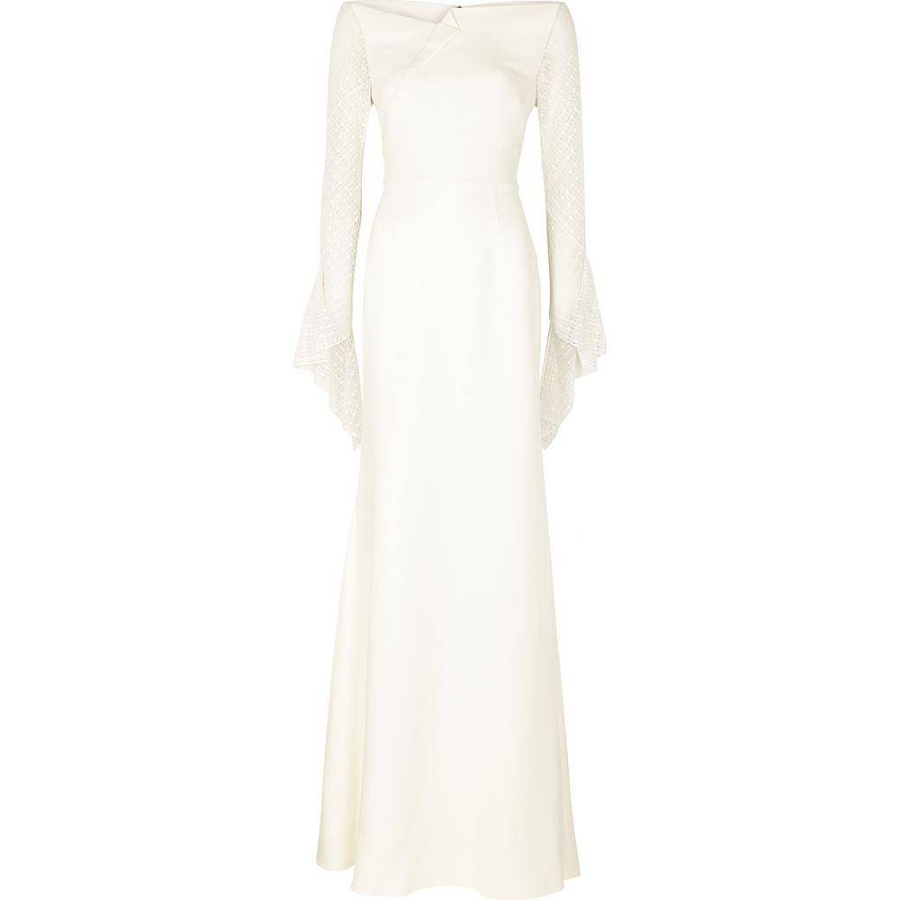 ローラン ムレ Roland Mouret レディース パーティードレス ワンピース・ドレス【Hafren Ivory Lace-Trimmed Gown】White