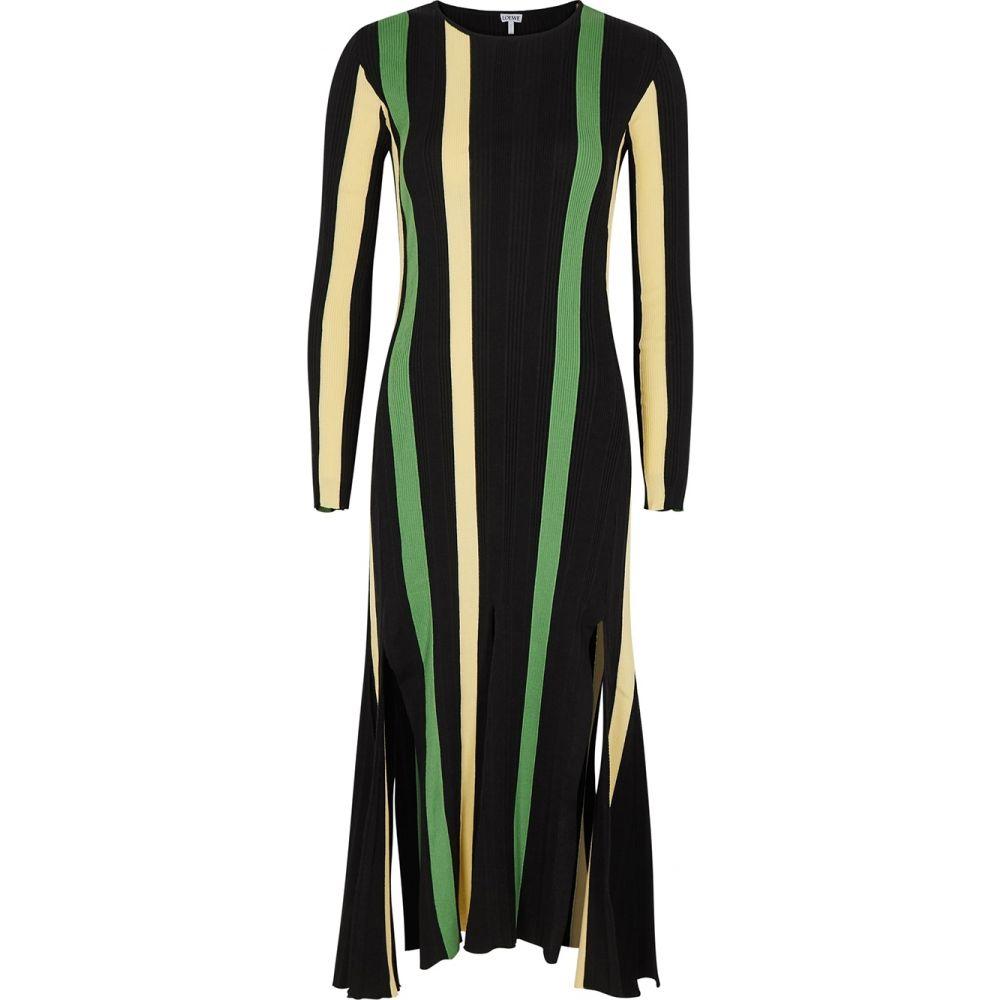 ロエベ Loewe レディース ワンピース ミドル丈 ワンピース・ドレス【Striped Rib-Knit Cotton Midi Dress】Yellow