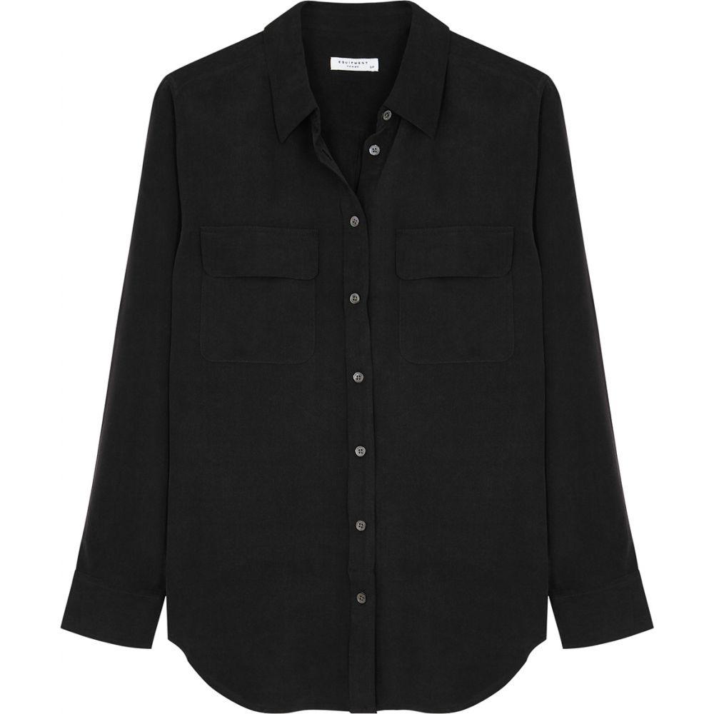 エキプモン Equipment レディース ブラウス・シャツ トップス【Slim Signature Black Silk Shirt】Black