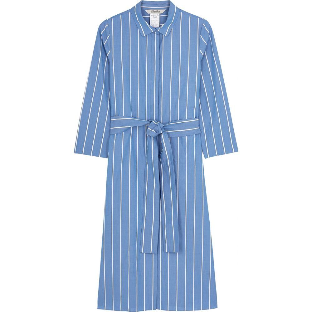 マックスマーラ 'S Max Mara レディース ワンピース シャツワンピース ワンピース・ドレス【Caladio Striped Cotton Shirt Dress】Blue