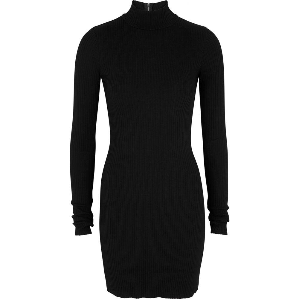コットンシチズン Cotton Citizen レディース ワンピース ミニ丈 ワンピース・ドレス【Ibiza Black Ribbed-Knit Mini Dress】Black