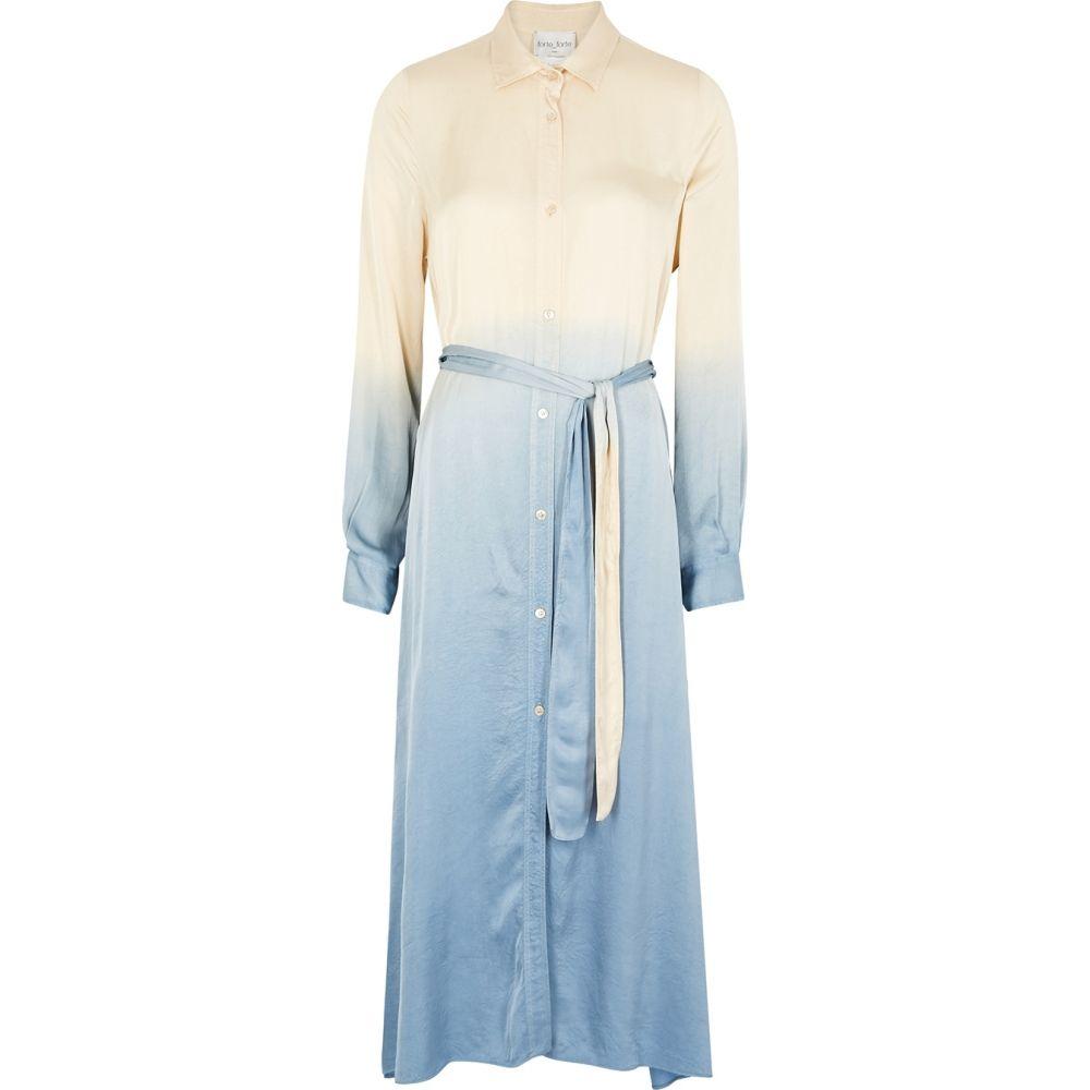 フォルテ フォルテ forte_forte レディース ワンピース シャツワンピース ワンピース・ドレス【Degrade Satin Shirt Dress】Blue