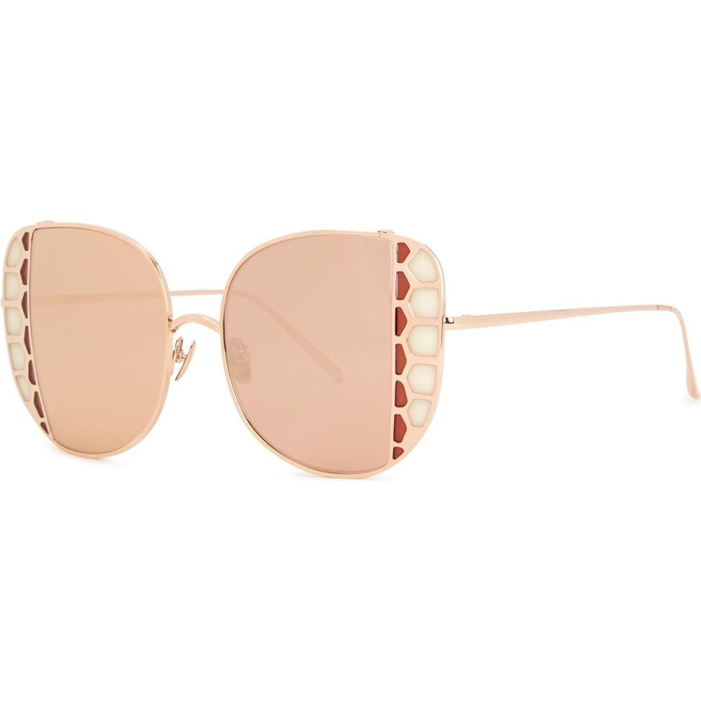 リンダ ファロー Linda Farrow Luxe レディース メガネ・サングラス 【Amelia Mirrored Oversized Sunglasses】Gold