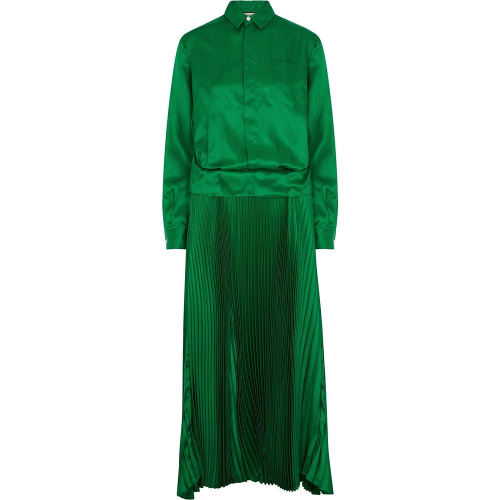 プラン C Plan C レディース ワンピース ミドル丈 ワンピース・ドレス【Emerald Green Cupro Midi Dress】Green