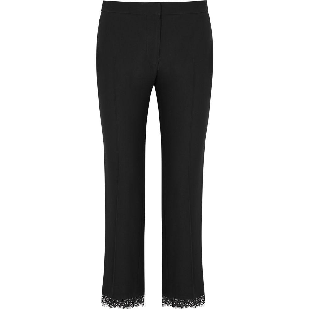 【高価値】 アレキサンダー マックイーン Alexander McQueen レディース スキニー・スリム ボトムス・パンツ【Black Lace-Trimmed Slim-Leg Trousers】Black, こころが香る Yucca 651dcd45