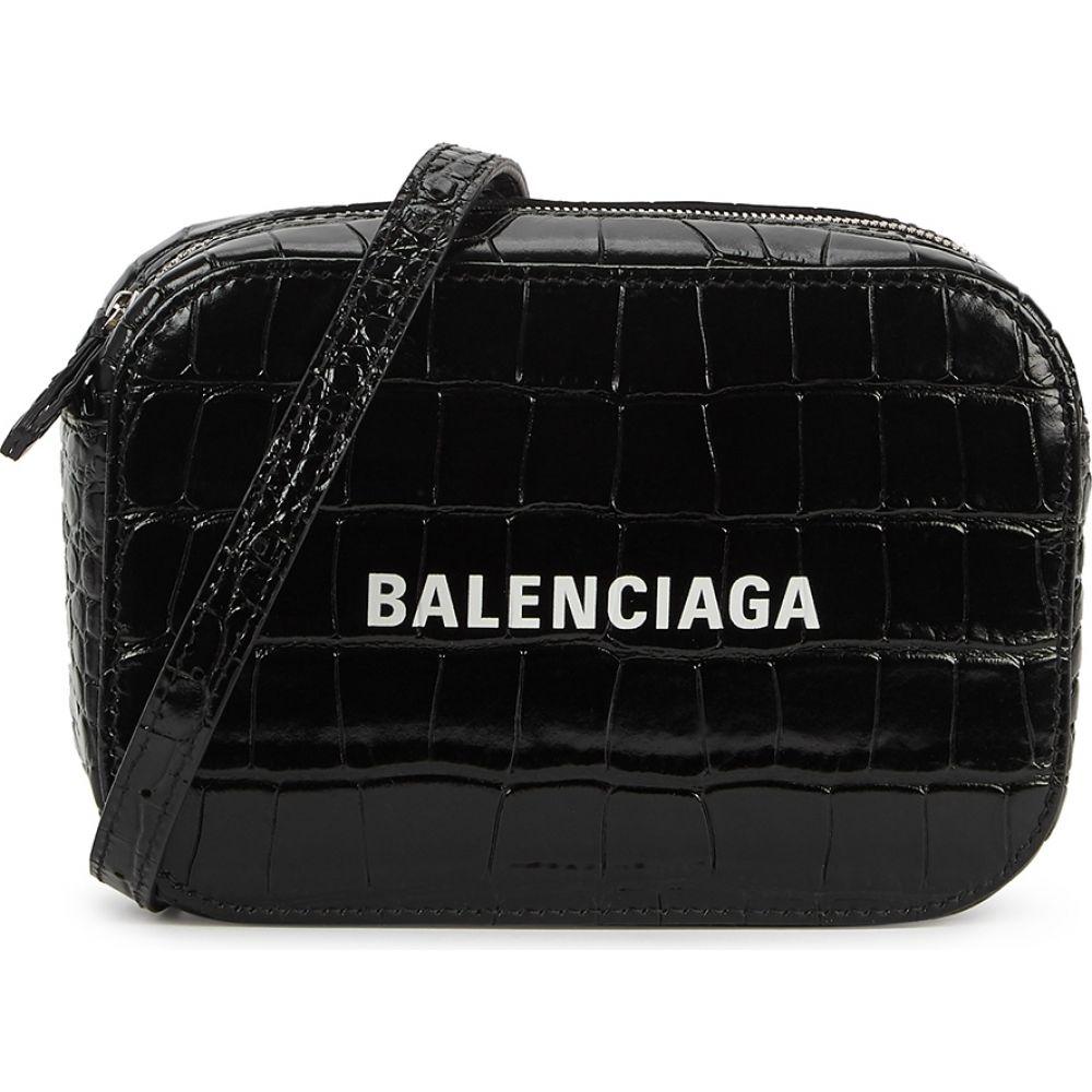 バレンシアガ Balenciaga レディース ショルダーバッグ バッグ【Everyday Xs Crocodile-Effect Leather Cross-Body Bag】Black