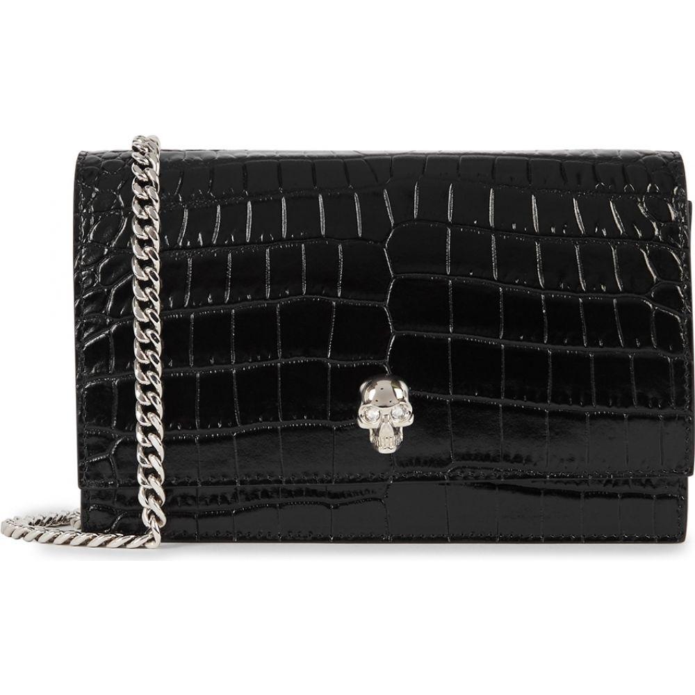 アレキサンダー マックイーン Alexander McQueen レディース ショルダーバッグ バッグ【Black Crocodile-Effect Leather Cross-Body Bag】Black