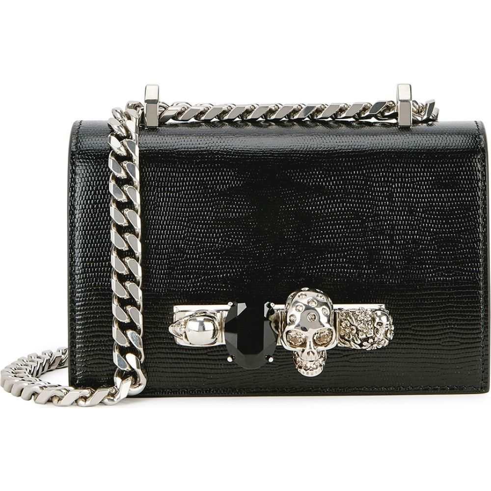 アレキサンダー マックイーン Alexander McQueen レディース ショルダーバッグ サッチェルバッグ バッグ【Jewelled Satchel Mini Black Leather Shoulder Bag】Black