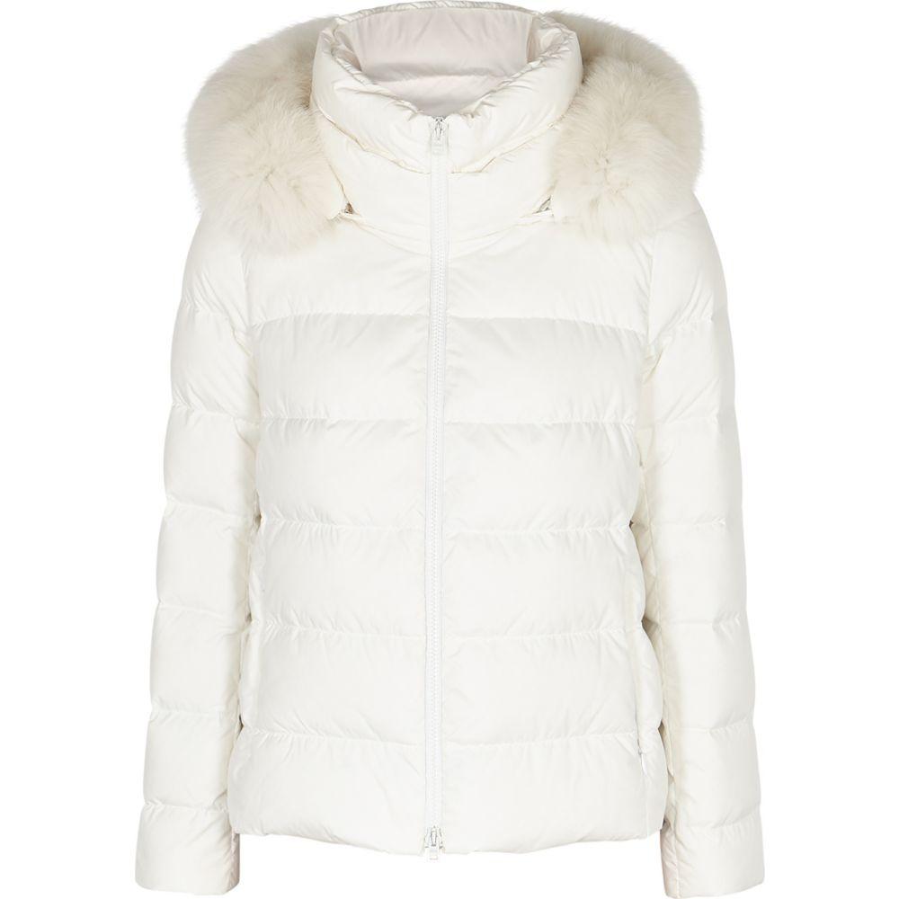 ヘルノ Herno レディース ジャケット シェルジャケット アウター【White Fur-Trimmed Quilted Shell Jacket】White