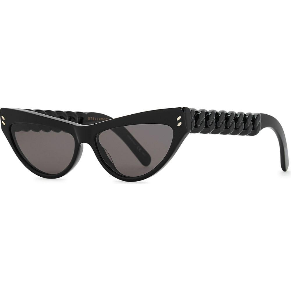 ステラ マッカートニー Stella McCartney レディース メガネ・サングラス キャットアイ【Black Cat-Eye Sunglasses】Black