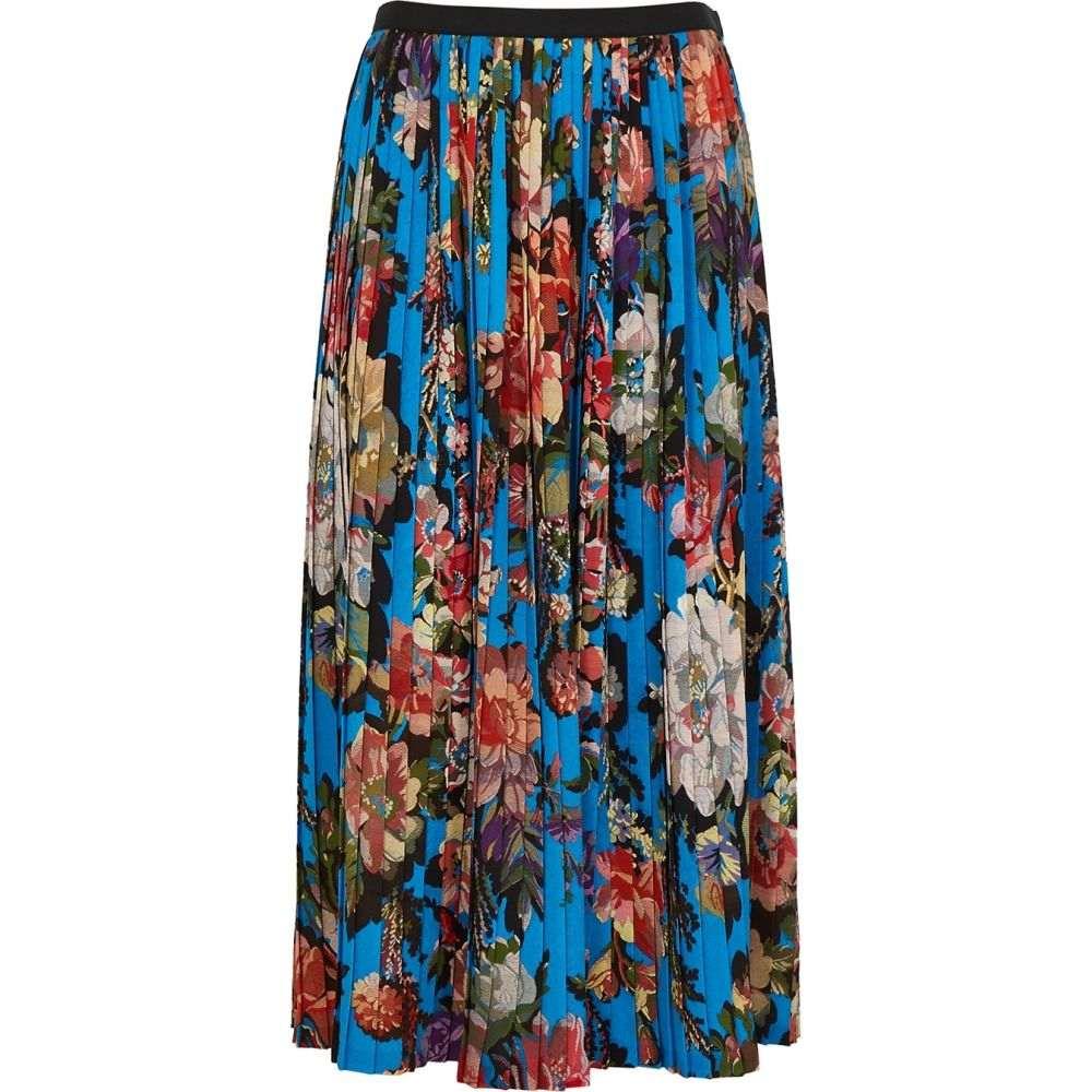 ドリス ヴァン ノッテン Dries Van Noten レディース ひざ丈スカート スカート【Saram Blue Floral-Print Midi Skirt】Blue