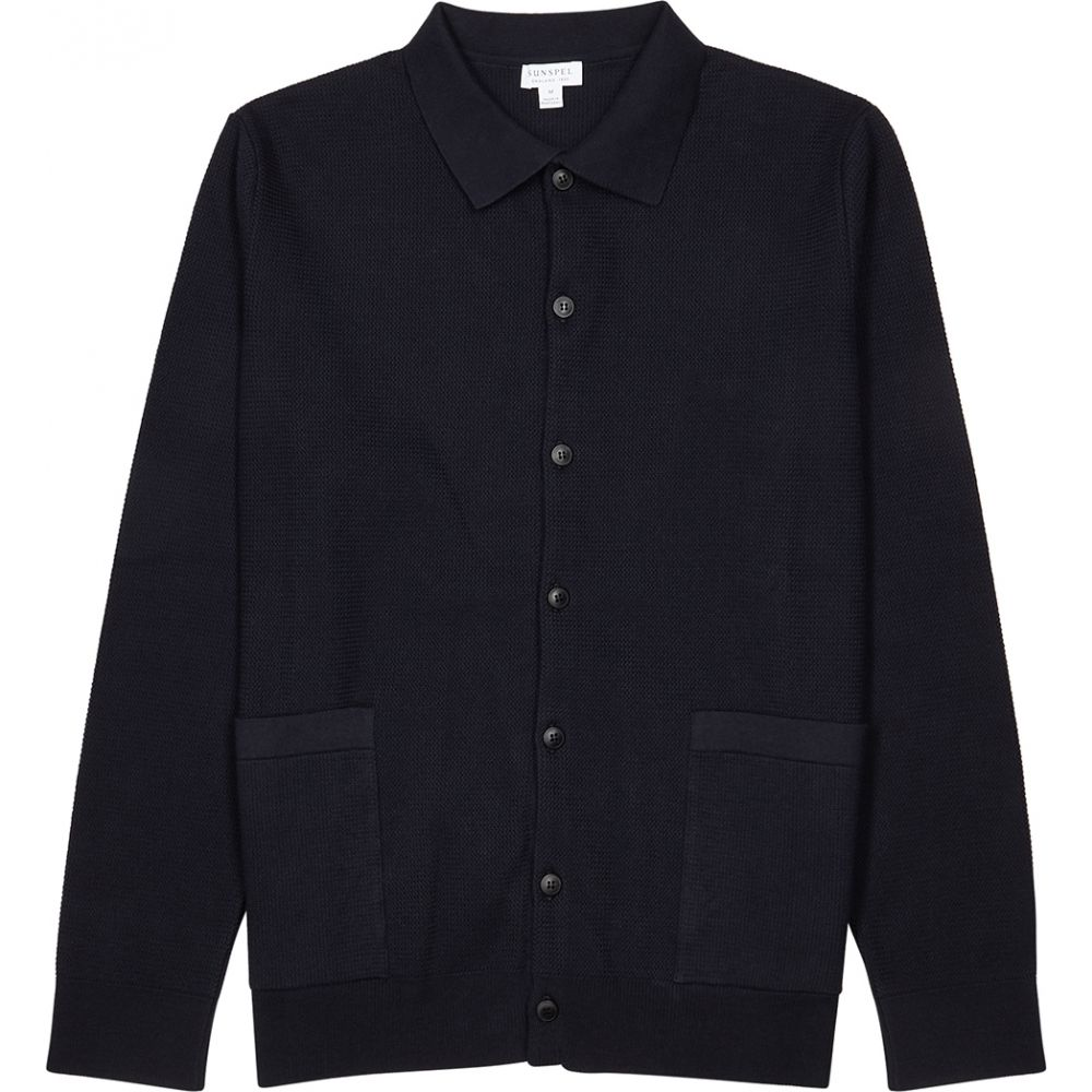 サンスペル Sunspel メンズ カーディガン トップス【Navy Waffle-Knit Cotton Cardigan】Navy