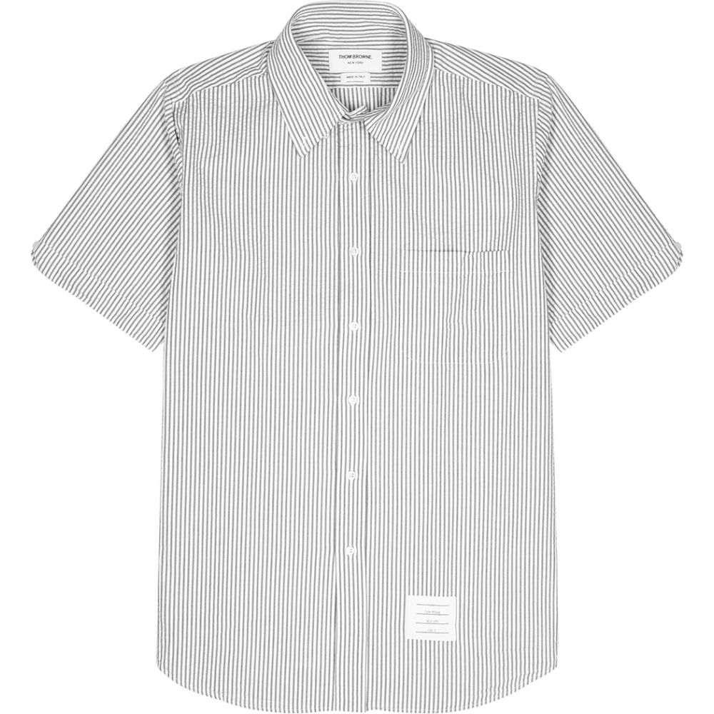 トム ブラウン Thom Browne メンズ 半袖シャツ トップス【Striped Seersucker Shirt】Grey