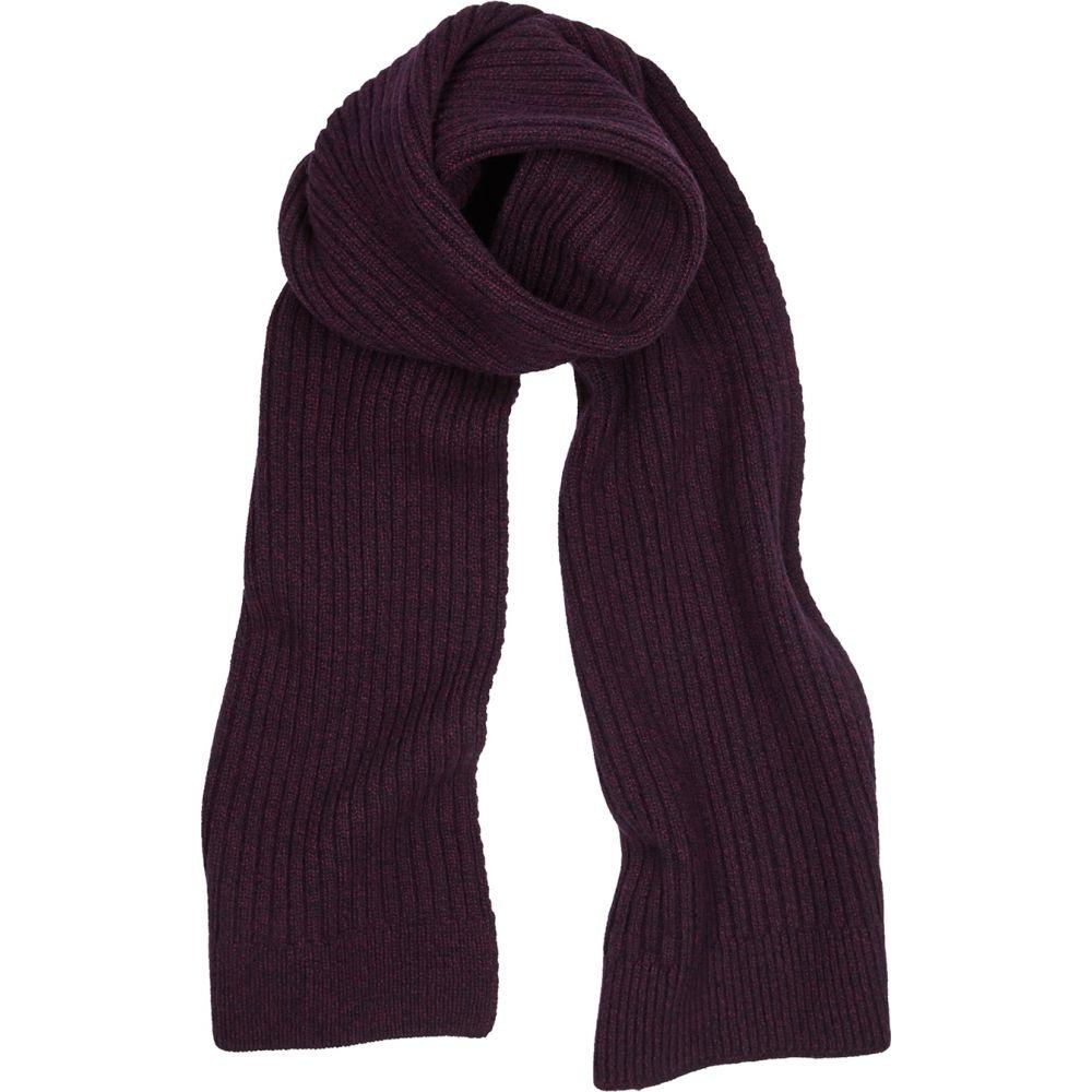 サンスペル Sunspel メンズ マフラー・スカーフ・ストール 【Maroon Ribbed-Knit Wool Scarf】Red