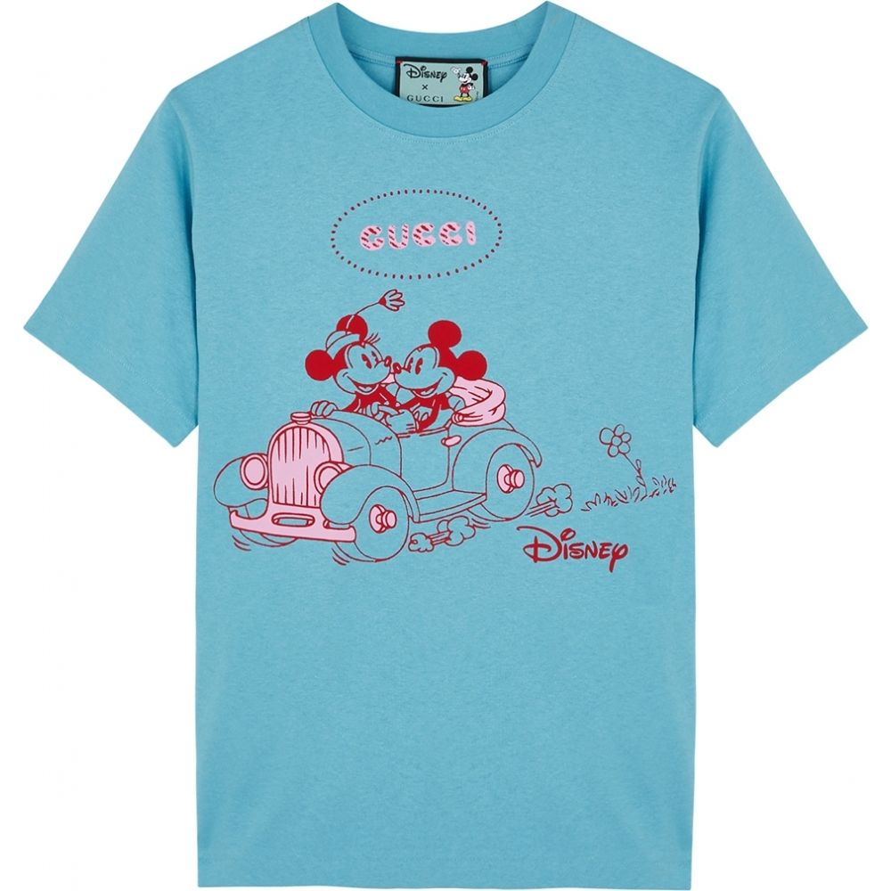 グッチ Gucci レディース Tシャツ トップス【X Disney Printed Cotton T-Shirt】Blue