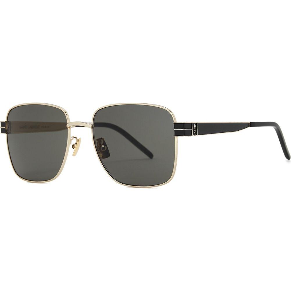 イヴ サンローラン Saint Laurent レディース メガネ・サングラス スクエアフレーム【Slm55 Gold-Tone Square-Frame Sunglasses】Grey