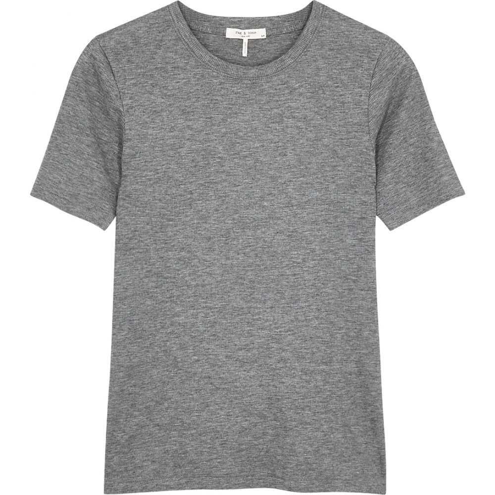 ラグ&ボーン rag & bone レディース Tシャツ トップス【Grey Ribbed Cotton-Blend T-Shirt】Grey