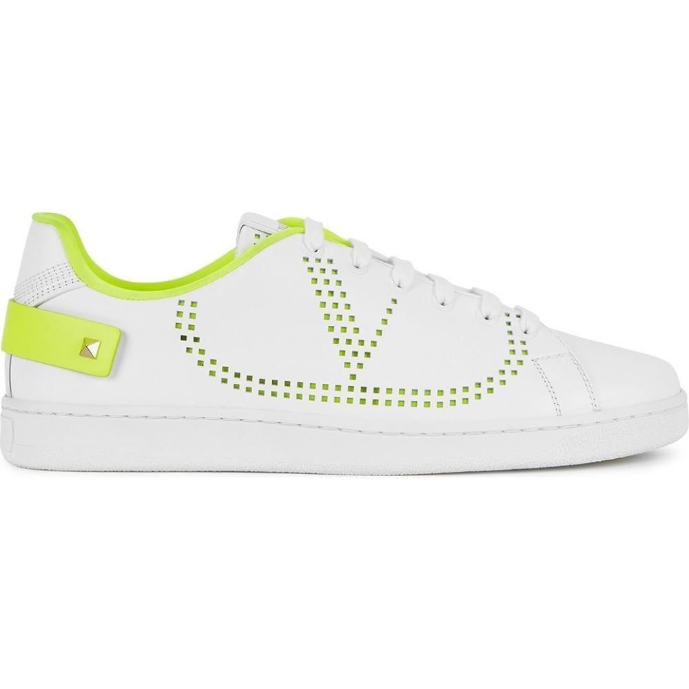 ヴァレンティノ Valentino レディース スニーカー シューズ・靴【Garavani Backnet White Perforated Leather Sneakers】Yellow
