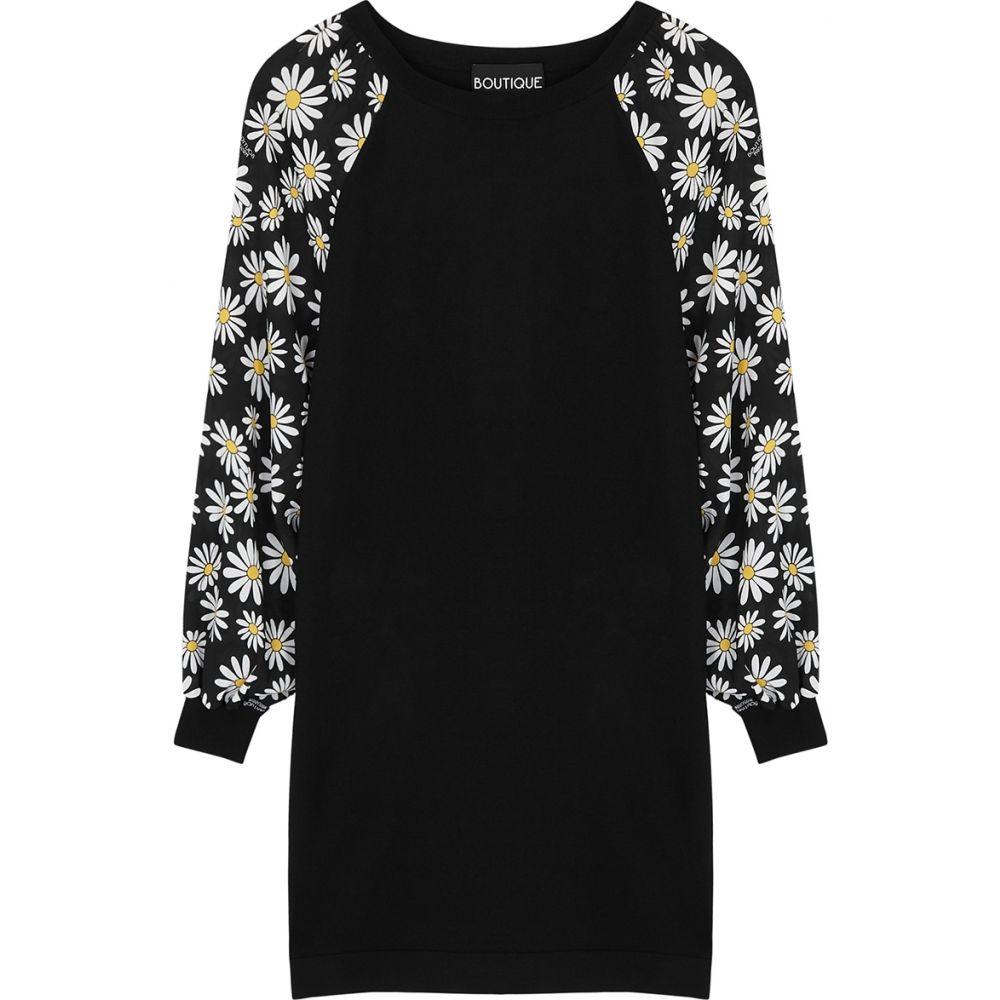 モスキーノ Boutique Moschino レディース ワンピース ミニ丈 ワンピース・ドレス【Black Floral-Print Stretch-Knit Mini Dress】Black