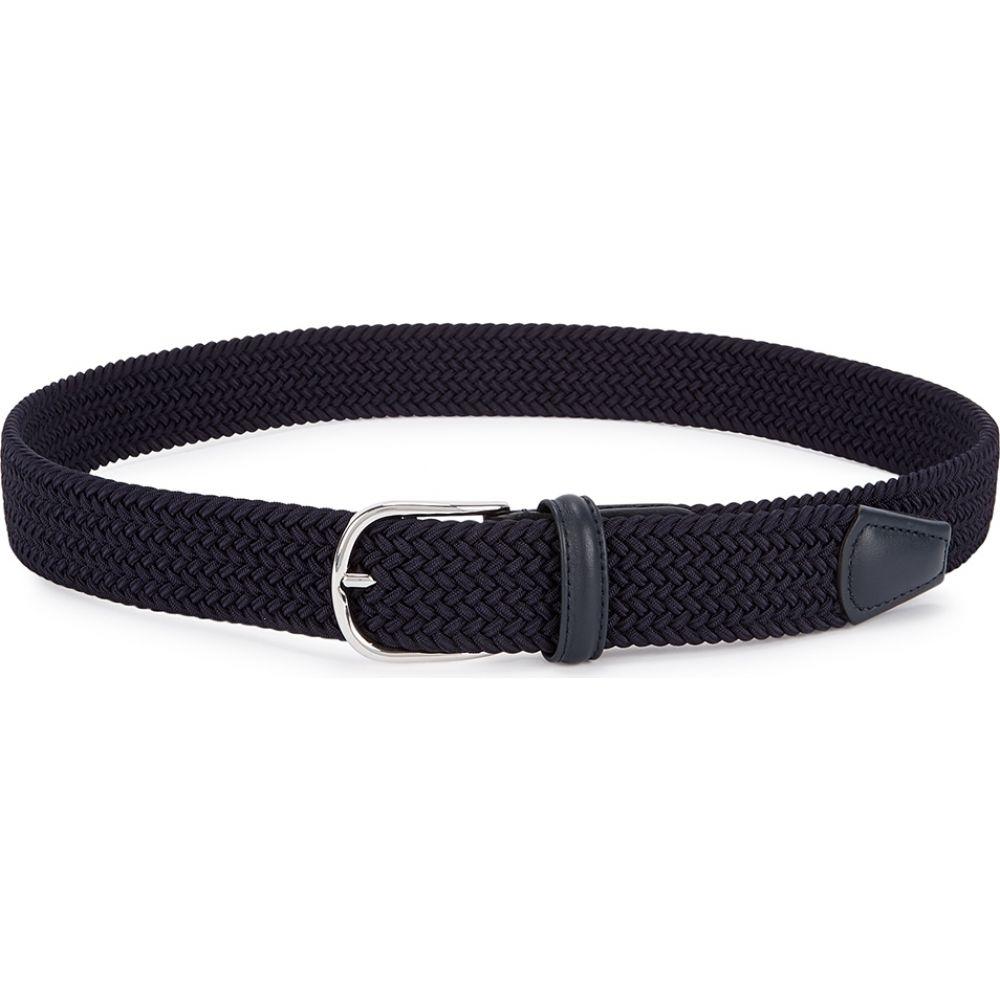 アンダーソンズ Anderson s メンズ ベルト 【navy woven canvas belt】Navy