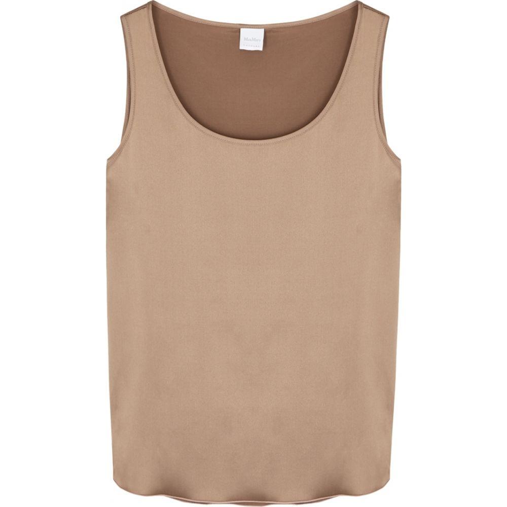 マックスマーラ Max Mara Leisure レディース タンクトップ トップス【pan brown stretch-silk tank】Brown