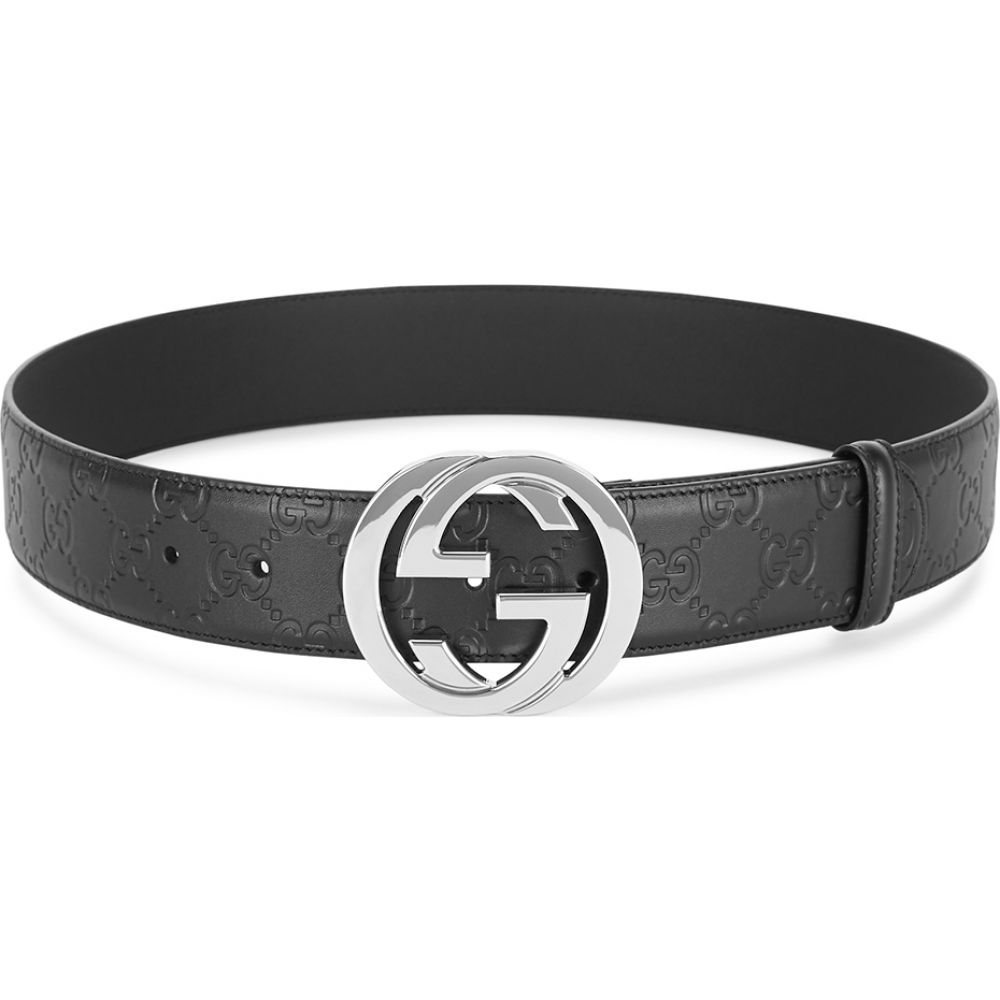 グッチ Gucci メンズ ベルト 【gg black logo-embossed leather belt】Black