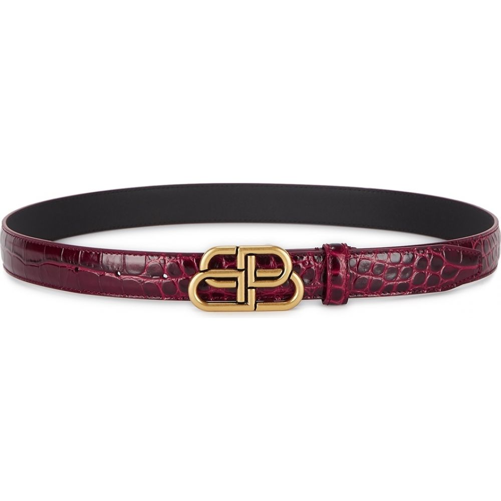 バレンシアガ Balenciaga レディース ベルト 【bb thin red crocodile-effect leather belt】Red