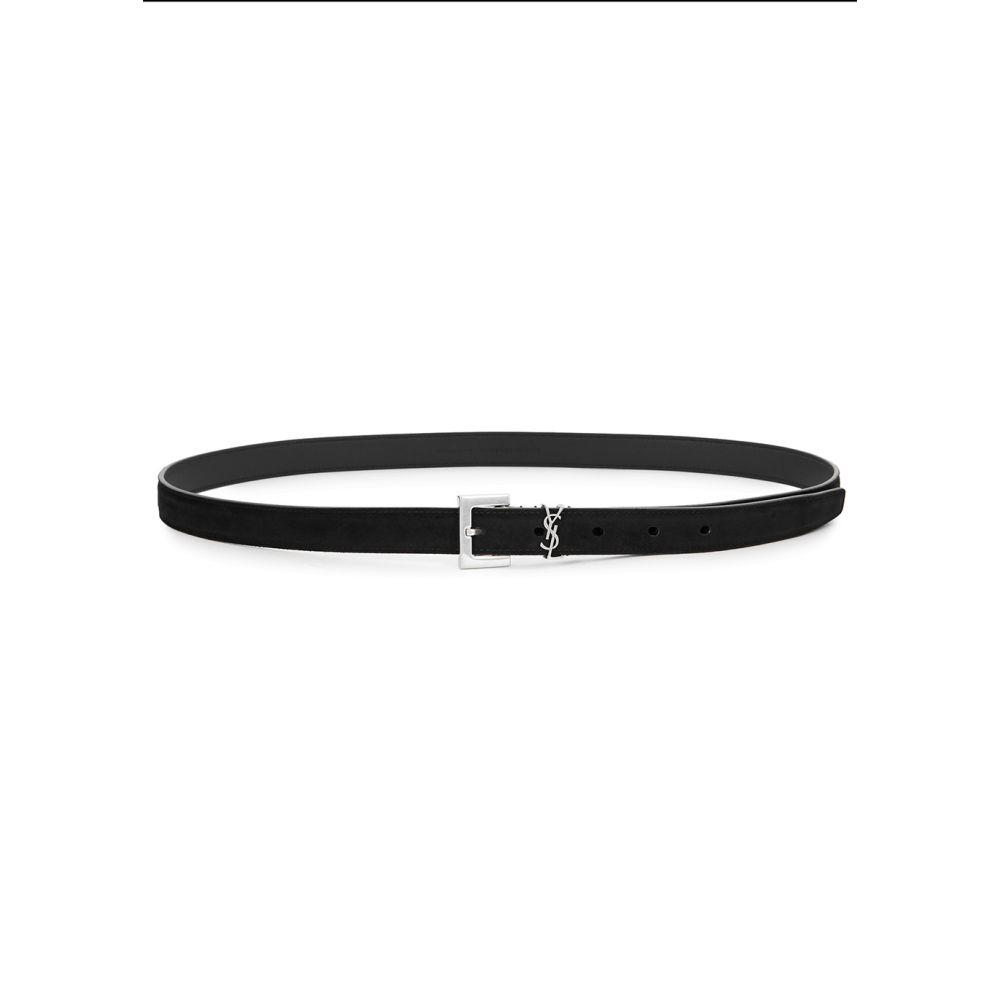 イヴ サンローラン Saint Laurent メンズ ベルト 【black logo suede belt】Black