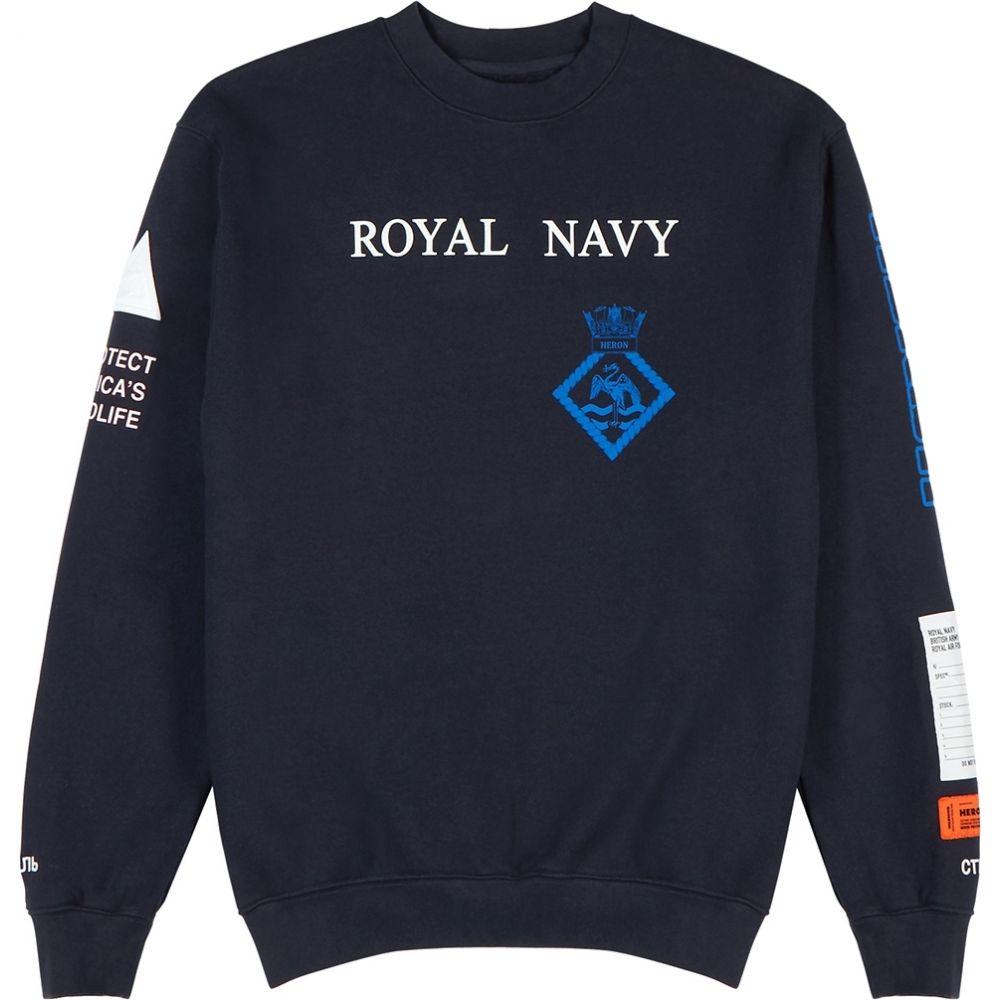 ヘロン プレストン Heron Preston メンズ スウェット・トレーナー トップス【navy printed cotton sweatshirt】Navy
