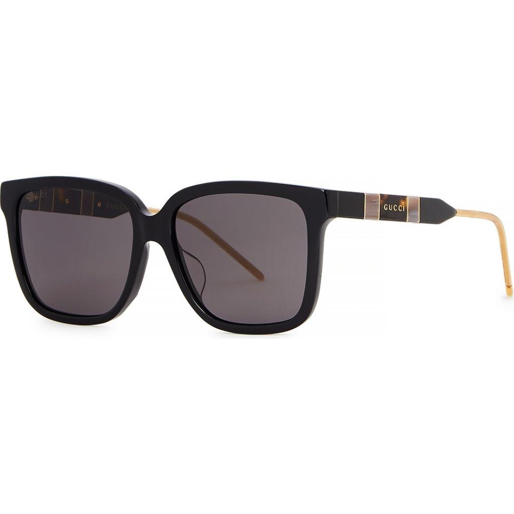 グッチ Gucci レディース メガネ・サングラス スクエアフレーム【black square-frame sunglasses】Black