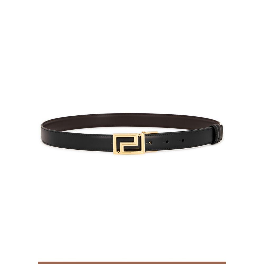 ヴェルサーチ Versace メンズ ベルト 【black reversible leather belt】Black