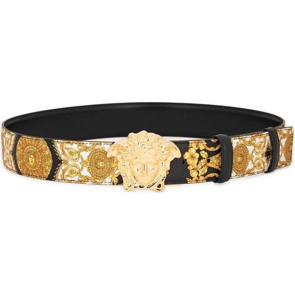 ヴェルサーチ Versace メンズ ベルト 【baroque-print leather belt】Black