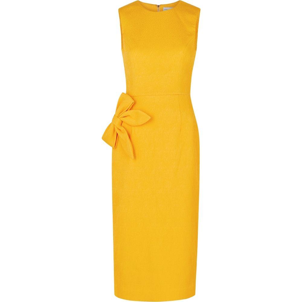 レベッカ ヴァランス Rebecca Vallance レディース ワンピース ミドル丈 ワンピース・ドレス【andie yellow bow-embellished midi dress】Yellow