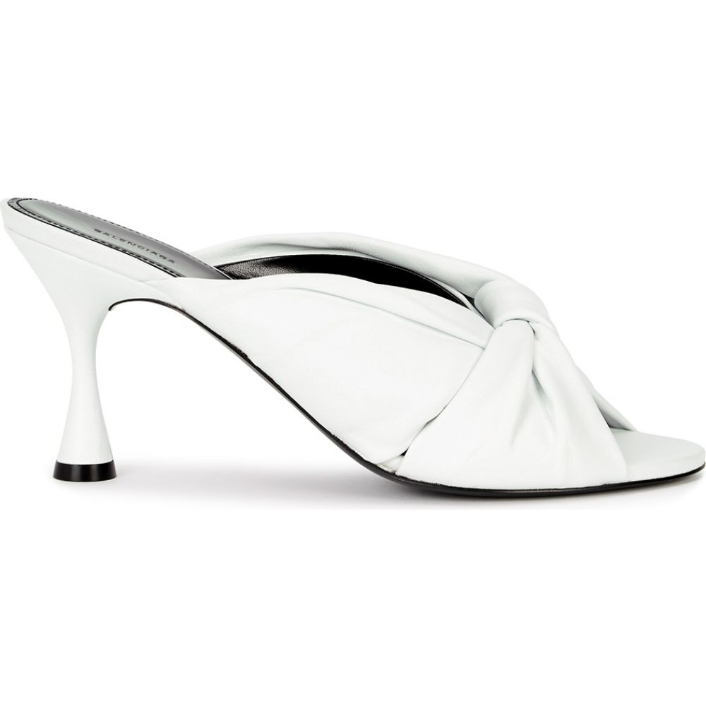 leather バレンシアガ シューズ・靴【drapy 80 Balenciaga サンダル・ミュール sandals】White レディース white