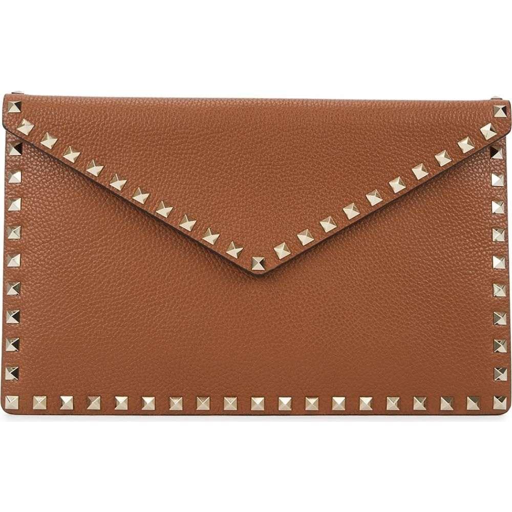 ヴァレンティノ Valentino レディース ポーチ 【garavani rockstud brown grained leather pouch】Brown
