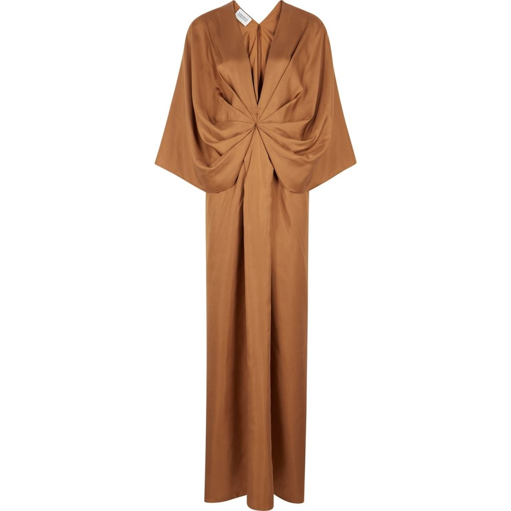 マークケンリードミノタン Mark Kenly Domino Tan レディース パーティードレス マキシ丈 ワンピース・ドレス【darja brown draped silk maxi dress】Brown