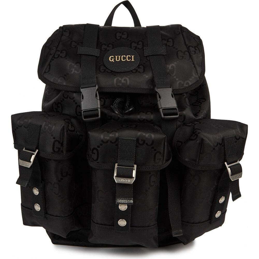 グッチ メンズ バッグ バックパック リュック サイズ交換無料 Gucci grid Black gg-jacquard backpack 直営限定アウトレット off nylon 超特価SALE開催 the